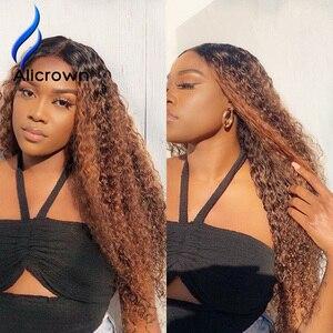 Image 5 - Парики из 360 человеческих волос с кудрявой передней частью на сетке для женщин, бразильские волосы, отбеленные узлы, нереми, цветные волосы плотностью 250%