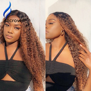 Image 5 - ALICROWN 360 Lace Front Curly Human Hair Wigs For Women Brazilian Hair Bleached knots Non Remy Colored Hair 250% Density
