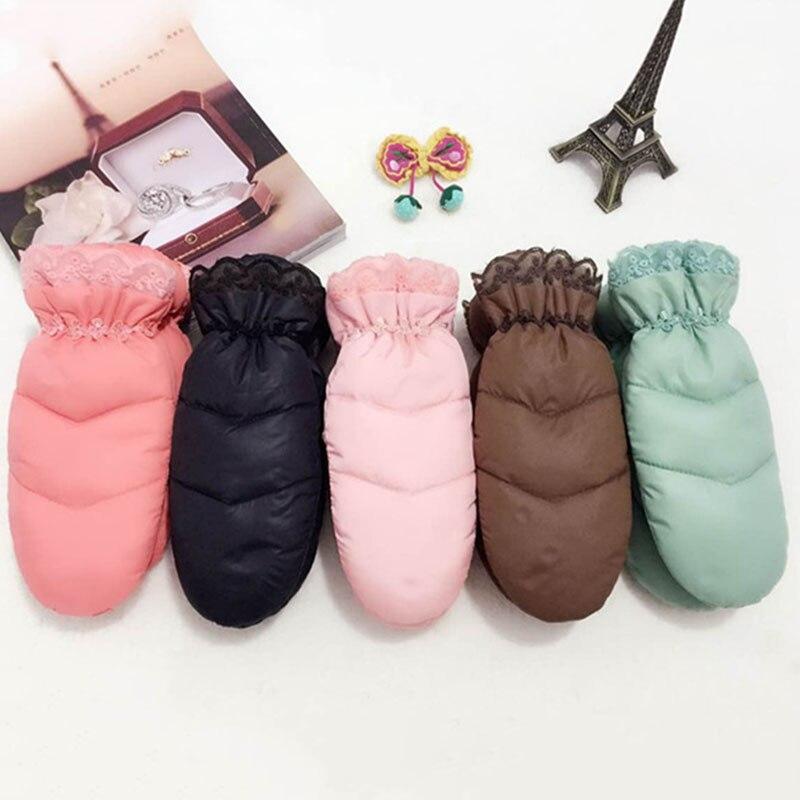 Winter New Lace Cute Down Gloves Fashion Women'S Plus Velvet Warm Waterproof Gloves