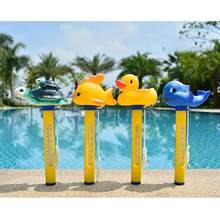 Termômetro de desenhos animados para piscina, para natação, pato, tubarão, tartaruga, acessórios para piscina