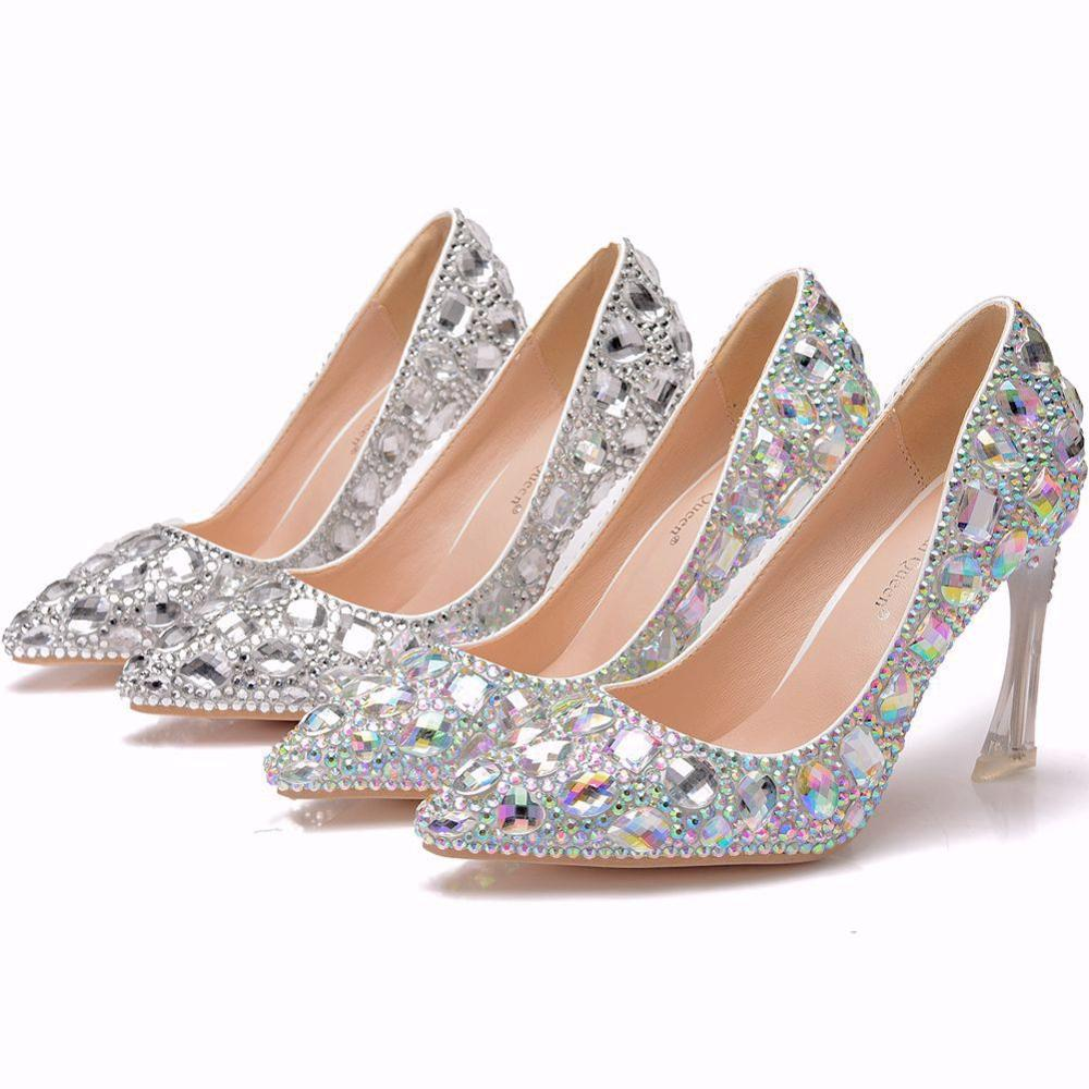 Crystal Queen Shoes Cinderella Women Heels Evening Party Glittering  High Heels Custom Silver Rhinestone Wedding Pumps 9cm