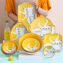 Cute Cat Ceramic Dinner Plates Japanese Style Hand-painted Dishes Children Tableware Noodle Soup Rice Bowl Dessert Serving Tray