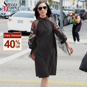 Nowa kobieta Plus rozmiar czarna koszula na co dzień sukienka 3/4 Mesh rękawy orzeł haft Fringe Ladies Midi prosta sukienka 3398