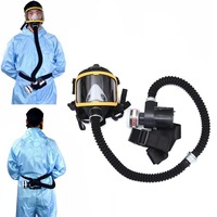 Electric Supplied Air Fed Full Face Gas Face Cover Constant Flow Respirator System Device PI669