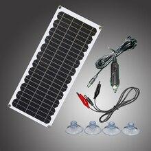 12V 10w 태양 전지 패널 키트 투명 세미 유연한 Monocrystalline 태양 전지 DIY 모듈 야외 커넥터 DC 12v 충전기