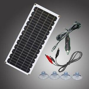 Image 1 - 12V 10w zestaw paneli słonecznych przezroczysty półelastyczny panel solarny monokrystaliczny moduł DIY zewnętrzne złącze DC 12v ładowarka