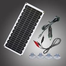12v 10 ワットソーラーパネルキット透明半柔軟な単結晶太陽電池diyモジュール屋外コネクタdc 12 12v充電器