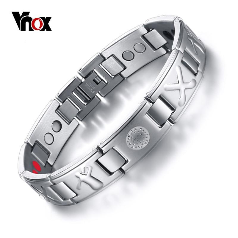 Vnox Men's Bio 4 Elements Energy Magnetic Bracelet Healing Stainless Steel Golf Bracelets Drop-Shipping Health Care Jewelry