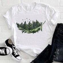 Femmes 2021 plume oiseau à manches courtes impression printemps mode dame vêtements imprimer T-shirt femme T-shirt haut dames graphique T-shirt