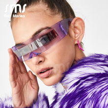 Trendy One Piece Rimless Sunglasses Women 2019 Luxury Brand Designer Purple Blue Clear Lens Goggle Glasses Fashion Men Eyewear