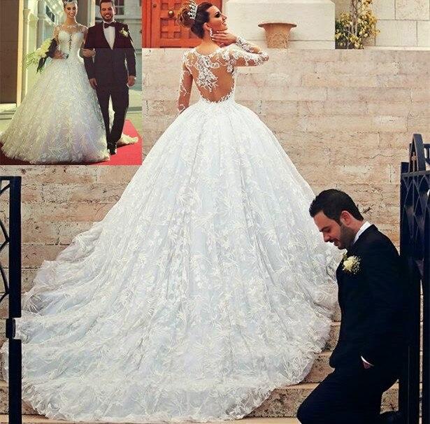 Customized Princess Long Sleeve Chapel Train Illusion Back Lace Ball Bridal Gown Vestido De Noiva Mother Of The Bride Dresses