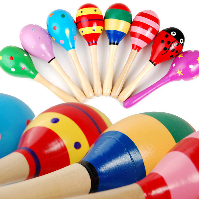 Child Gift Random Color Wooden 1Pcs Maraca Rattles Instrument Toys Sand Hammer Funny Educational Musical Toy Baby Rattle Shaker