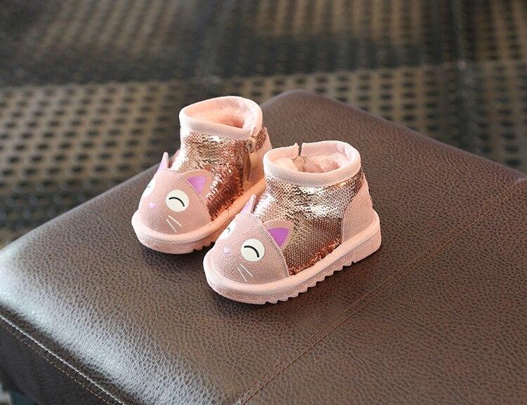 menina botas de neve de couro genuíno