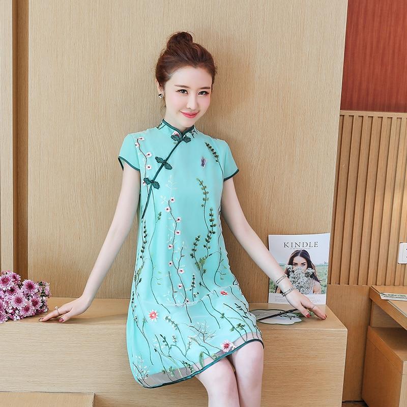 2020 Chinese Dress Vintage Improved Flower Qipao Women Aodai Classic Short Sleeve Party Cheongsam Elegant Female Wedding Dress