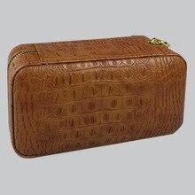 COHIBA крокодиловая кожа коричневого цвета с зернистой текстурой для сигар, может вместить 6 сигарет