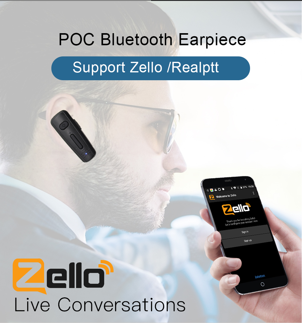 Wireless Handsfree Bluetooth Headset Earphone Zello PTT Bluetooth Work With IOS Android System Support POC Moblie Phone