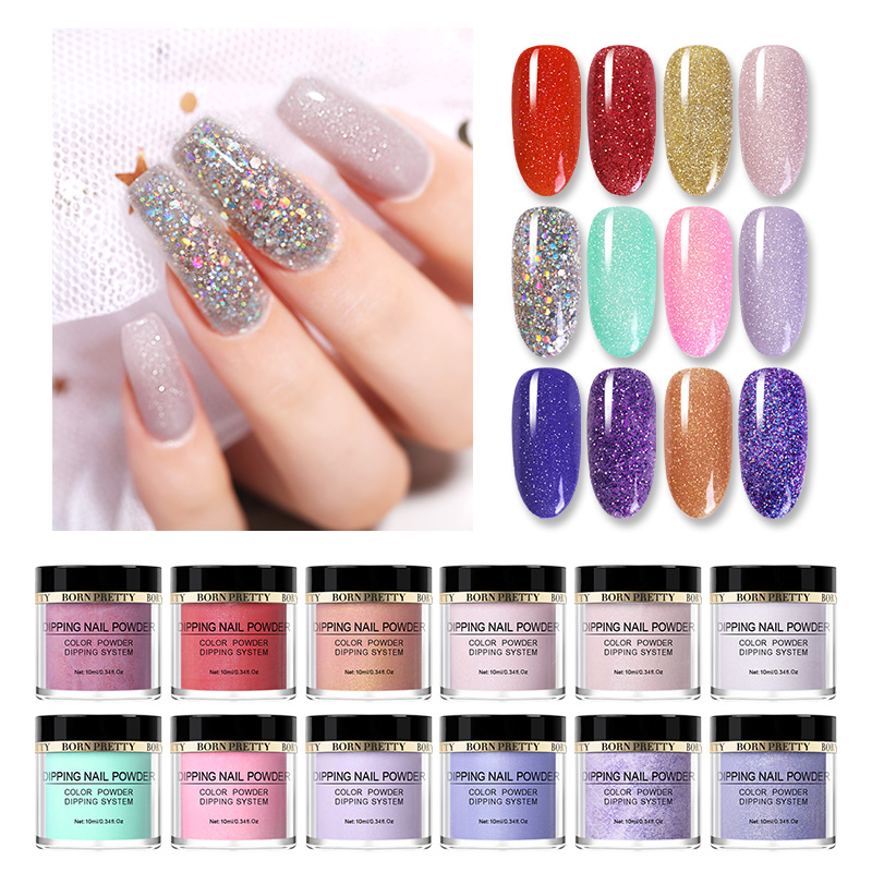 BORN PRETTY 10ml Dipping Nail Powder Glittery  Natural Dry Acrylic Dust Dip Nail Art Decorations For Nails Designs