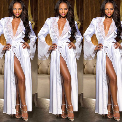 Women Lingerie Silk Lace Robe Dress Babydoll Nightdress Nightgown Sleepwear Sexy Slim Loose Long Sleeve Nightwear V-Neck Robes