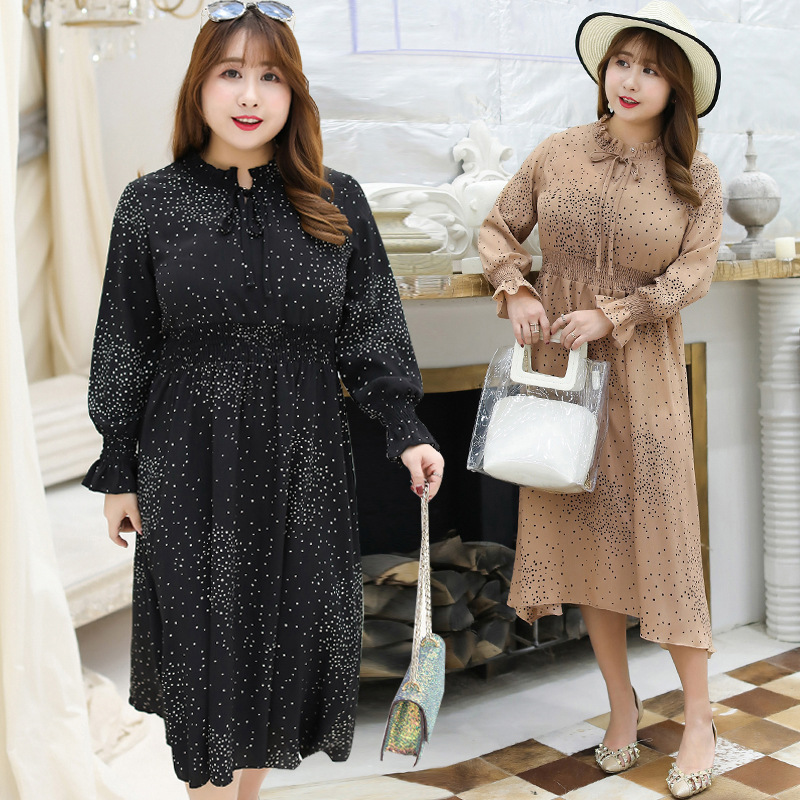 [Xuan Chen] Spring New Style Fat Mm Large Size Dress Plus-sized Elegant Polka Dot Dress 1653