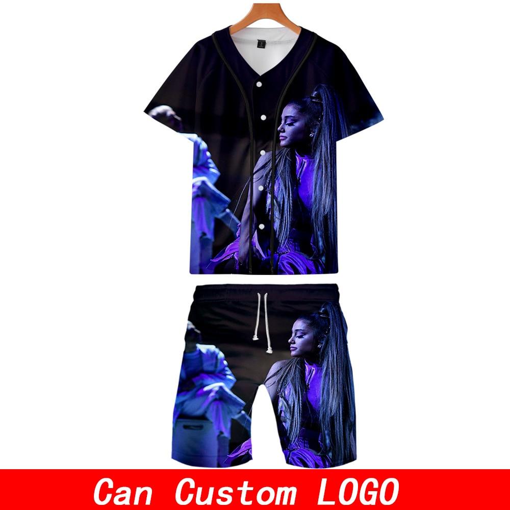 Ariana Grande 3D Print Music 2 Pic Set Jacket And Shorts Kpop Fashion New Cool Print Baseball Jacket Set For Men Clothes