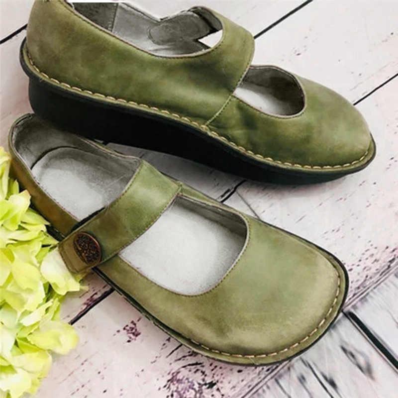 2020 neue Frauen Flache Mary Janes Damen Komfortable Schnalle Schuhe Weibliche Casual Plus Größe Frau PU Leder Mode Schuhe