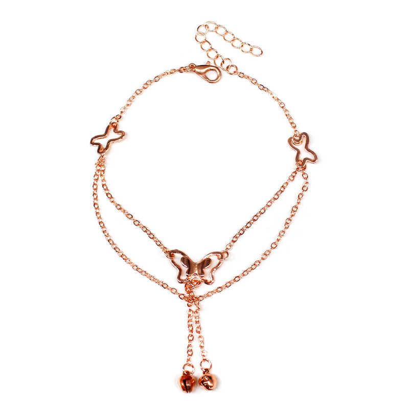 Ayak bileği Vintage altın kelebek el yapımı bilezik kadınlar için ayak bacak takı zincir kolye boho Metal zincir arkadaşlar için hediye