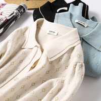 Wool lapel pearl button short cardigan jacket Sweater cardigan