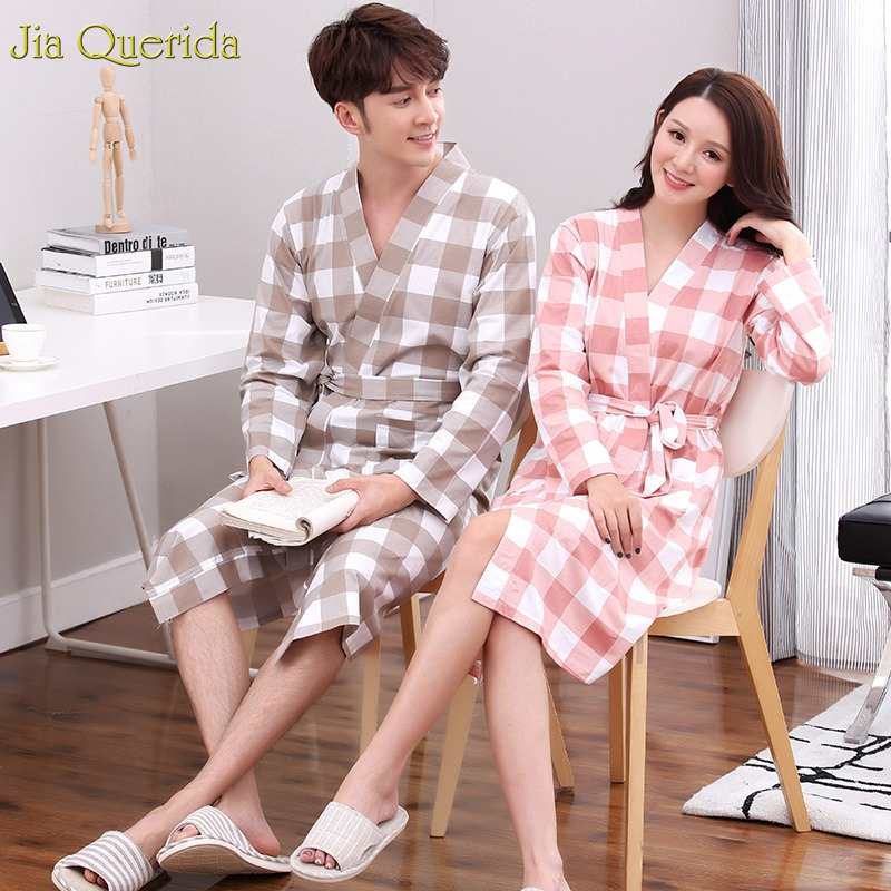 Men Kimono Nightgown 100% Cotton Plaid Couple Matching Home Bath Robe Japanese Kimono Men And Women Match Bathrobe Long Sleeve