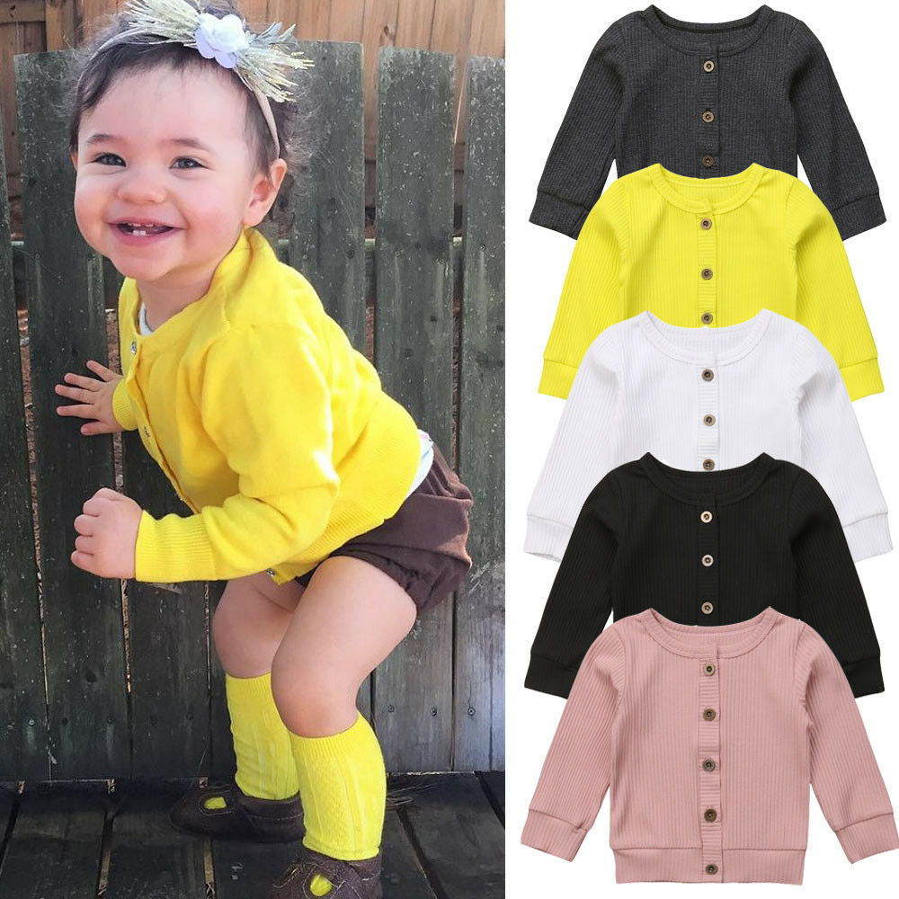 Cute Newborn Infant Kids Baby Girls Clothes Button Knitted Sweater Cardigan Coat Solid Tops 0-24M