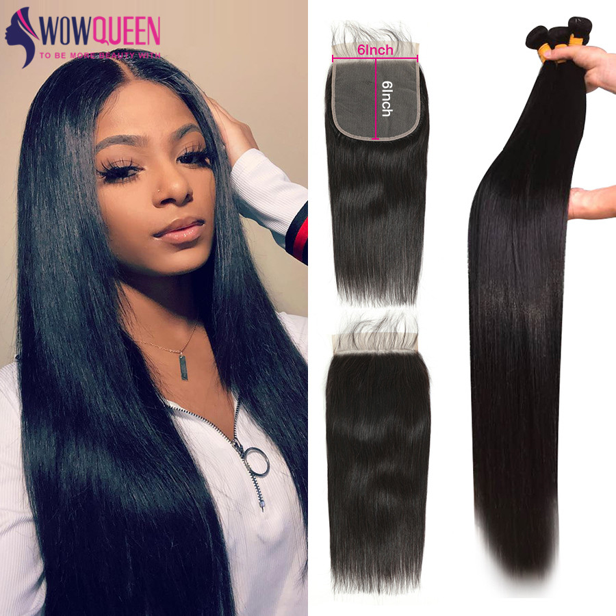 WOWQUEEN 6x6 Closure Bundles Brazilian-Hair Straight 30inch And with Remy