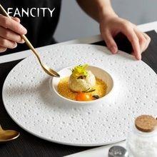 FANCITY – assiette de cuisine occidentale créative blanche, cuisine française nordique haut de gamme, cuisine italienne, vaisselle, assiette à pâtes, assiette à dessert