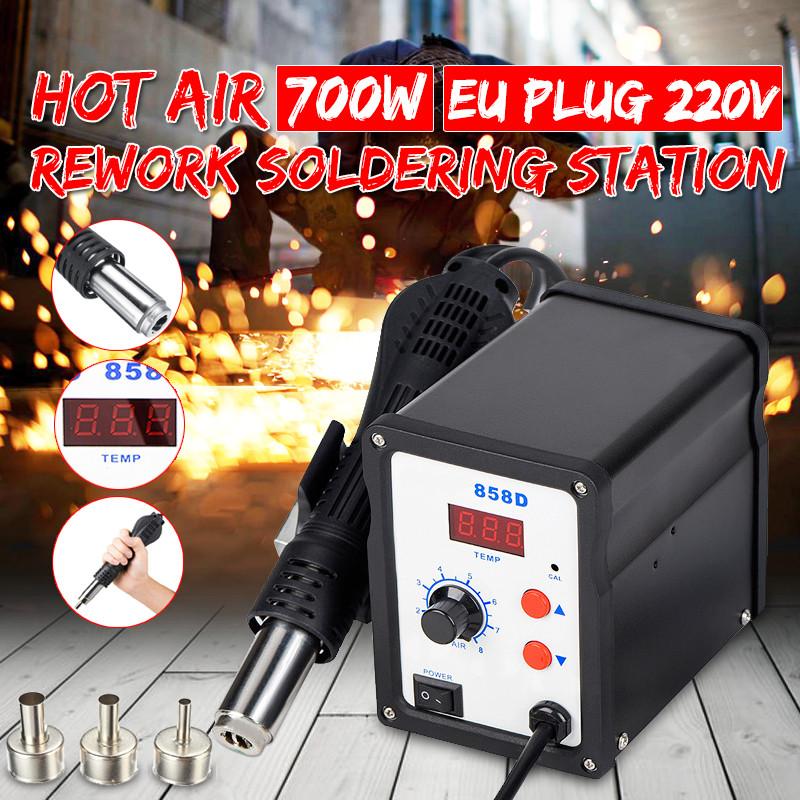 750W Digital Display Electric Soldering Station+DIY Hot Air Guns Phone Computer Rework Welding Iron Desoldering Station 858D