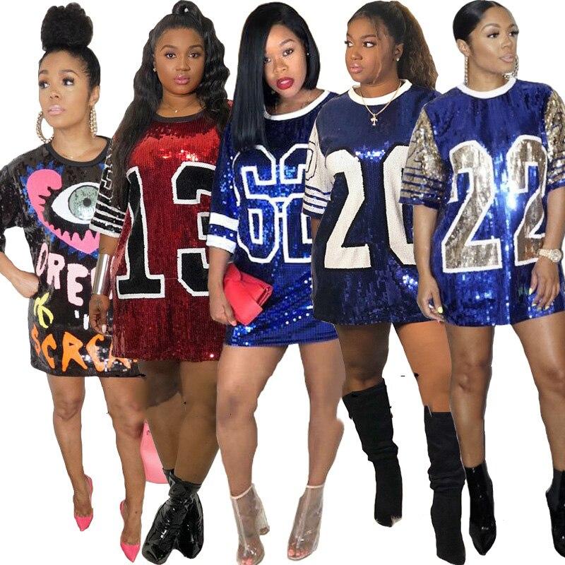 Женский топ с короткими рукавами, платье футболка с блестками и принтом, свободные женские платья для певцов в ночном клубе, DJ DS, цельная пра