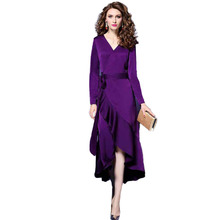 New Winter Dress Womens 2018 Autumn Temperament Long Sleeve V-neck Dresses Women Party Night Plus Size Clothes