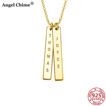 AC 925 Sterling Silver Personalized Name Vertical Bar Necklace Engraved Words Pendant Necklace Memorial Jewelry Gift Anniversary недорого