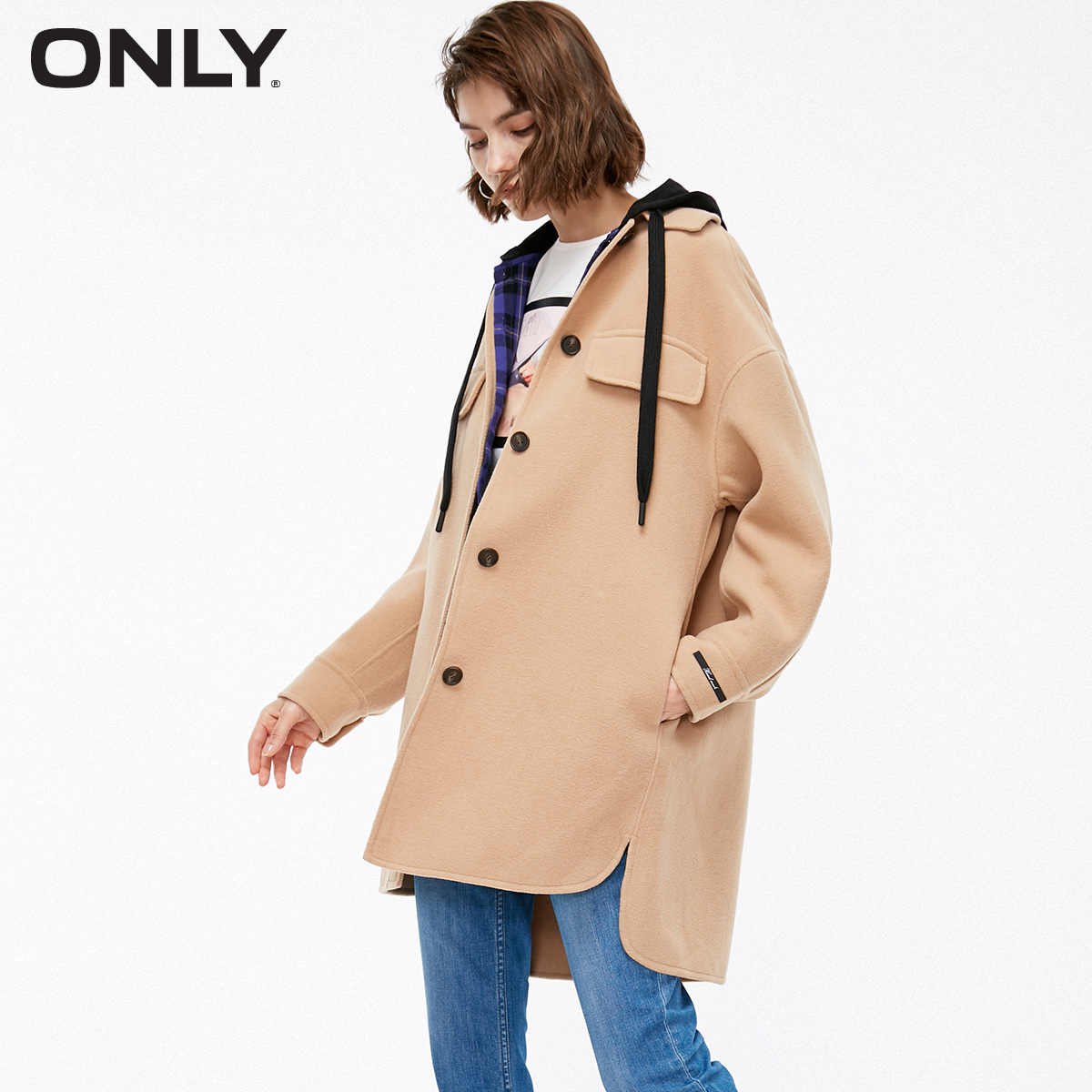 ONLY 2019 Autum Winter New Arrivals Lapel Woolen Coat | 11834S524
