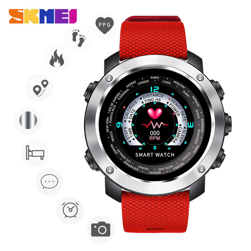 SKMEI 3D UI Digital Smart Watch Men Sport Smartwatch Heart Rate Calories Remote Waterproof Wristwatch Male Reloj inteligente W30