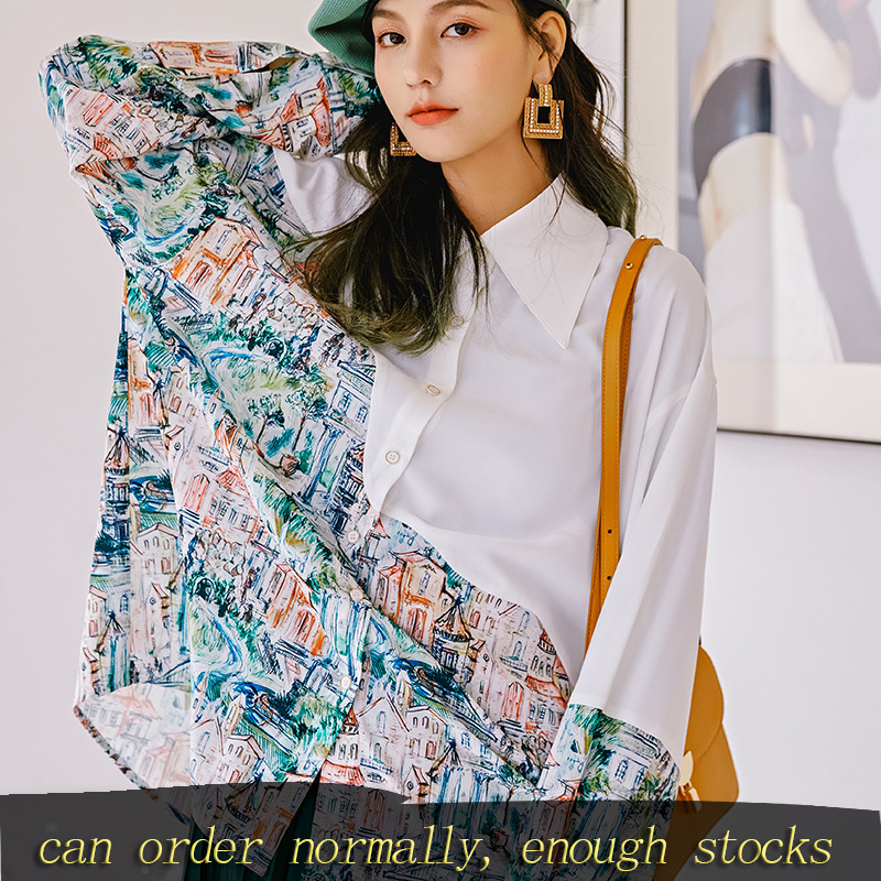 LANMREM Can Ship Personality Printing Long Sleeve Famale Shirt 2020 Spring Fahion Design Loose New Tops For Women Vintage YH942