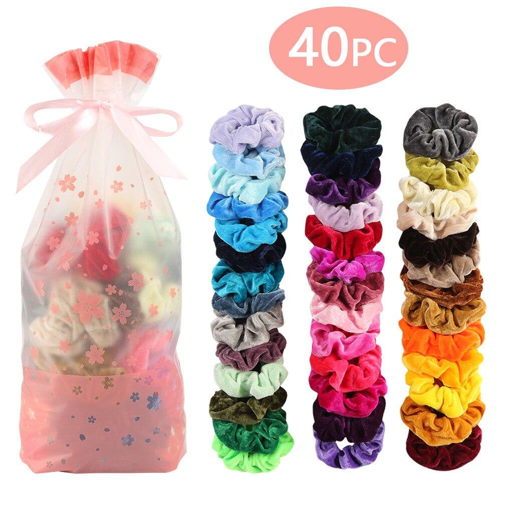 40 Pcs Veludo scrunchies Elásticas Faixas de Cabelo para As Mulheres ou Meninas Acessórios Para o Cabelo com pacote do presente simples sólida atacado 10H