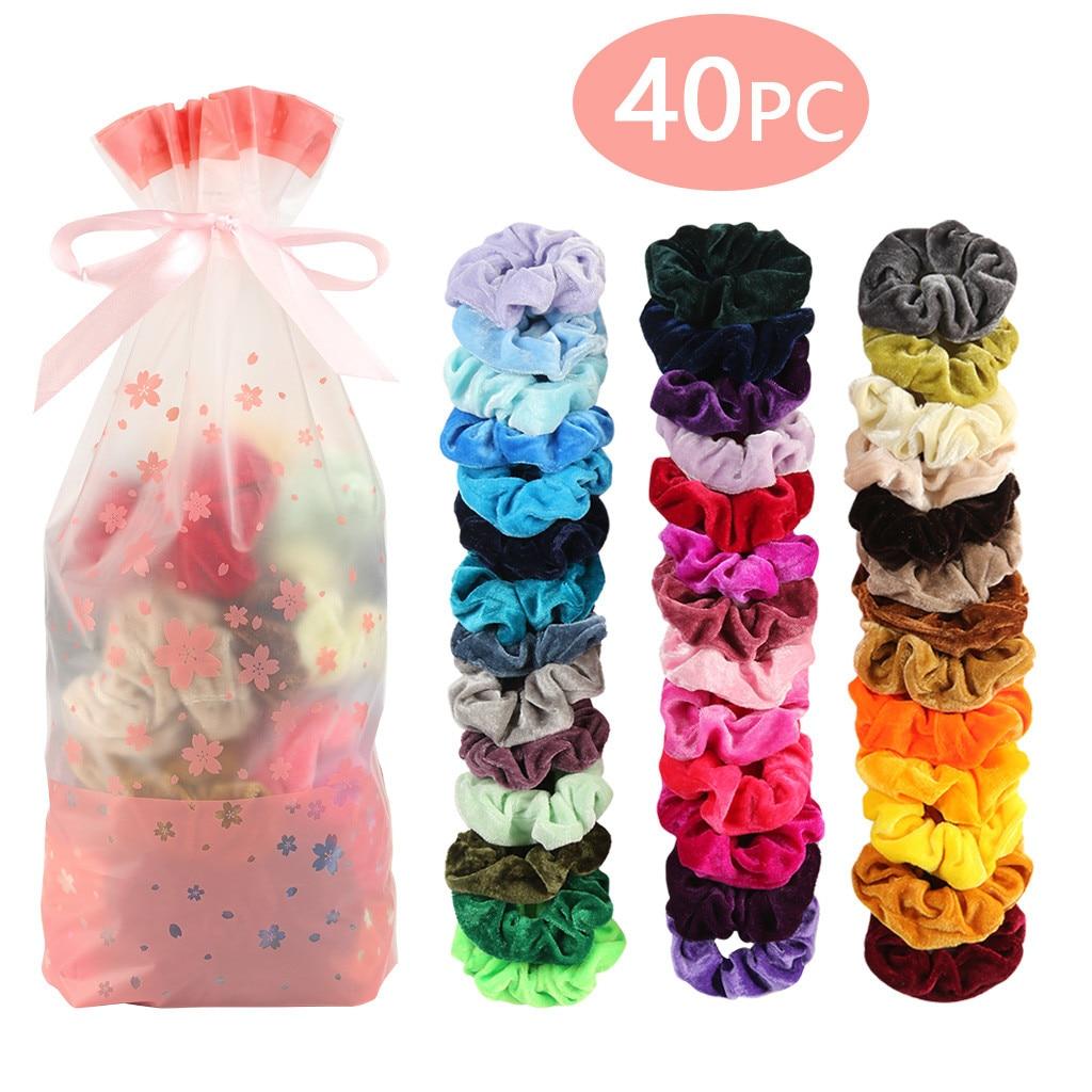 40 pçs veludo elástico scrunchies faixas de cabelo para mulheres ou meninas acessórios de cabelo com pacote de presente simples sólido atacado 10 h