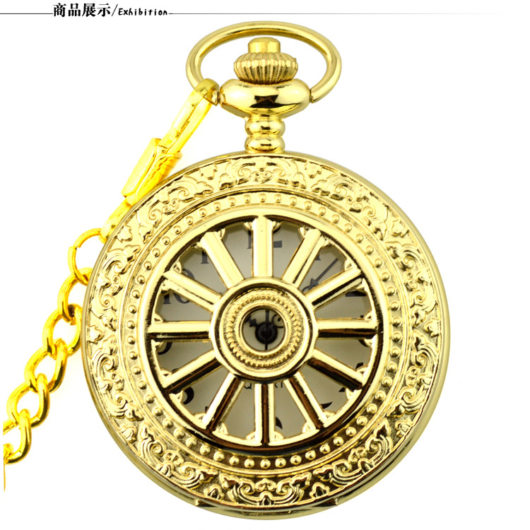 Best Vintage Gold Pocket Watch Arabic Numerals Dial Quartz Pocket & Fob Watches Fob Chain for Men Women Clock Relogio De Bolso