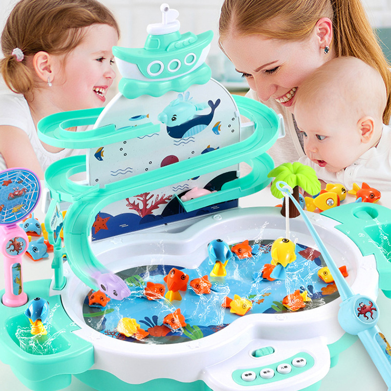 Children Fishing Games Outdoor Beach Sand Toys Building Blocks Track Gifts Kids Fish Electric Water Cycle Music Lighting