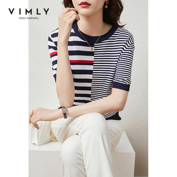 VIMLY Summer Knitted Tops For Women Fashion Round Neck Short Sleeve Pullover Casual Stripe Sweater Women Female Clothes F7397 1