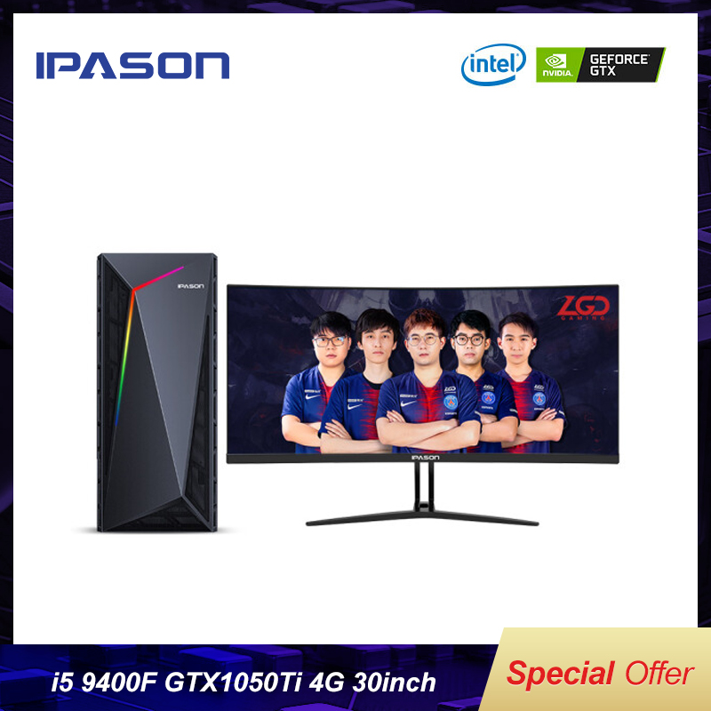 IPASON Gaming Desktop Computer Full Set Intel 9th Gen I5-9400F GTX1050Ti-4G DDR4 8G RAM 240GSSD  30-inch 200Hz E-sports Full Set