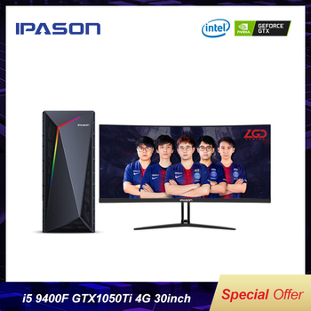 IPASON Gaming Desktop Computer Full Set Intel 9th Gen I5-9400F GTX1050Ti-4G DDR4 8G RAM 240GSSD  30-inch 200Hz E-sports Full Set