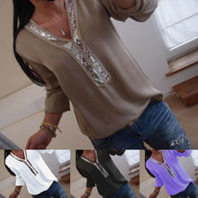 Summer Casual Women Solid Chic Elegant Irregular V-Neck Blouses Long sleeve Plus Tops Pullover Shirts