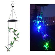Color Changing Solar Power Wind Chime Hummingbird Colorful Lights Waterproof Outdoor Light for Patio Yard Garden Decoration