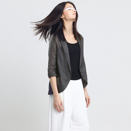 New Arrival Spring Autumn Women Blazer Thin Casual Comfortable Suit Female Linen Jacket Outwear LX1421