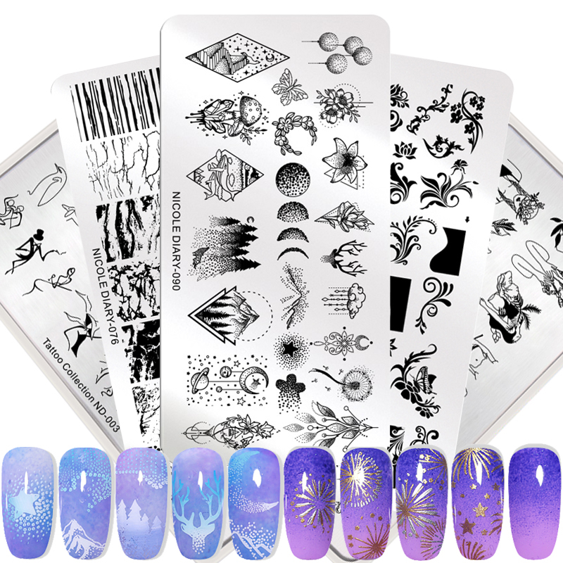 Nicole Diary lace flower Animal штамповки для ногтей пластины мраморные шаблоны для печати изображений геометрический Маникюр трафарет Инструменты
