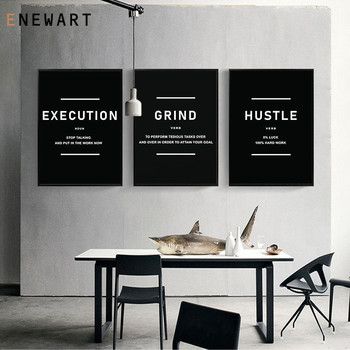 Hustle Grind Execution Painting Wall Art Motivation Print Canvas Quote Entrepreneur Decorative Poster Office Decor Pictures image